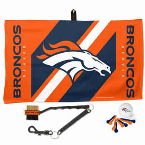 NFL DENVER BRONCOS GOLF GIFT SET WITH WAFFLE TOWEL, BALL, BRUSH & TEES NEW