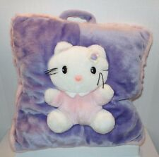 Raised 3D Emblem Plush Bring Along HELLO KITTY Pillow Pink Purple Fuzzy Cat