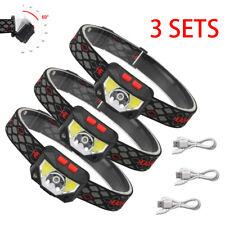 Rechargeable LED Headlamp Flashlight,1~3PCS Super Bright Motion Sensor Head Lamp