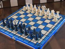 Brand New Blue Hand Crafted  Wooden Chess Set 31.5cm x 31.5cm