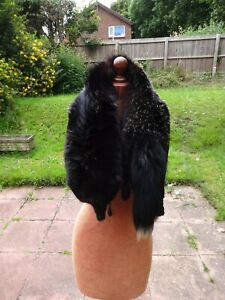 VINTAGE BLACK REAL FOX FUR STOLE WRAP SCARF-original clasps-lot A
