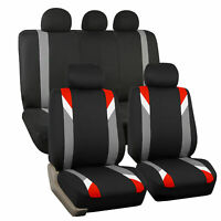 Car Seat Cover Set For Auto Sporty Red W/ 5 Head Rests