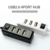 Multi USB Ports Adapter 4 USB 2.0 HUB Extension Splitter w/Switcher for Computer
