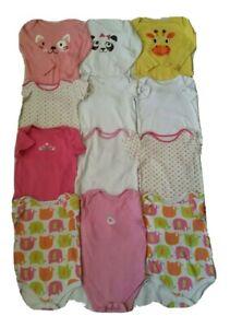 Baby Girl selection  of Long and Short sleeve Bodysuit bundle, 12-18m