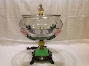 ANTIQUE VINTAGE FISH BOWL TANK AQUARIUM HOLDER LIGHT ART DECO HOUZE GLASS