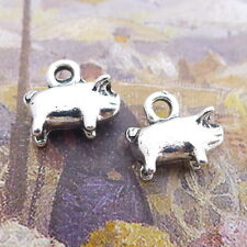 10pcs Charms Cute Fat Pig 3D Animals Tibetan Silver Bead DIY Pendant 10*9mm