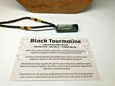 RAW BLACK TOURMALINE REIKI ENERGY CHARGED NATURAL CRYSTAL PENDANT PROTECTIVE #43