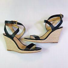 MICHAEL KORS Black Leather Wedge Espadrilles Sandals Women Size 9.5M