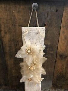 Wooden Hanging Wall Plaque With Hand Made Fabric Flowers Shabby Chic  Home Decor