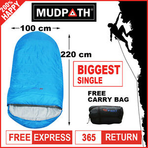 OzEagle Camping King Sleeping Bag XXL Outdoor Winter -15°C 220x100cm Sky Blue