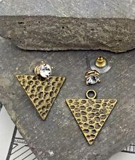 Urban Trend Hammered gold Triangle Spike & Crystal Stud Ear Jacket Earrings Cuff