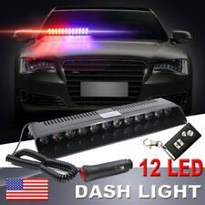 12 LED Auto Remote Control Dash Strobe Flash Light Police Warning Light Red&Blue