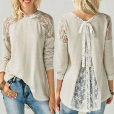 00Womens Ladies Long Sleeve Lace Bowknot Blouse O Neck Casual Tops T Shirt Shirt
