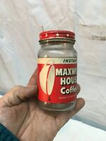 Vintage 2oz Glass Coffee Canister Maxwell House 1950s Kitchen Coffee Can