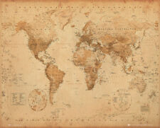 World Map Antique Style Educational Maps Mini Poster Print 40x50cm | 16x20 in