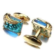 Mens Shirt Cufflinks Luxury Blue Crystal Copper Square Simulated Pearl Tie Clips