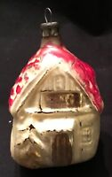 VINTAGE GLASS ORNAMENT - RED ROOFED COTTAGE