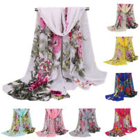 Women Peony Printed Chiffon Long Scarf Wrap Lady Large Hijab Shawl Scarves Stole