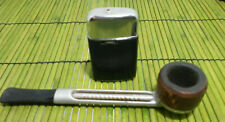 Aluminum Tobacco Pipe Falcon #1  Ronson Stainless Lighter Black Bonded Leather