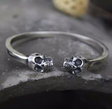 Solid 925 Sterling Silver Skull Open Torque Bangle Cuff Bracelet *UK STOCK*