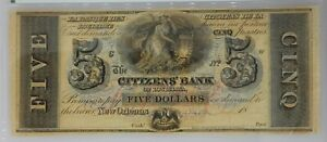 1850 to 60 $5 Remainder Citizens' Bank of Louisiana Note PMG MS 63 EPQ