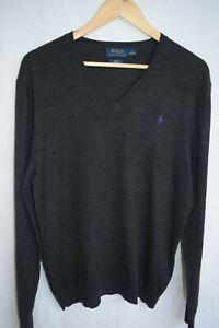 Ralph Lauren / Polo, v neck jumpwr...size L, slim fit stretch...dark grey wool