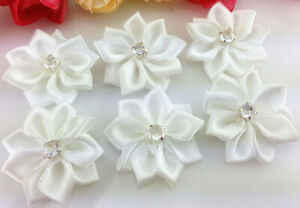 DIY WHITE 10pcs Satin Ribbon Flower with Crystal Bead Appliques~Craft/Trim