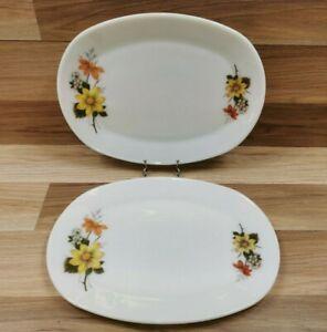 2 x Vintage JAJ Pyrex Autumn Glory Oval Steak Dinner Plates