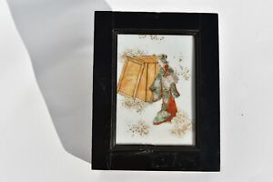 SMALL ANTIQUE HAND PAINTED JAPANESE PAINTING ON PORCELAIN TILE DEPICTING A DOLL