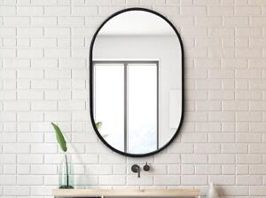 Mirror Oval Shape NEW - Matte Black - Bathroom Living Room Mirror - FREE POST