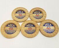 Lot Of 5 Vintage Diamond Milk Products Columbus Ohio Paper Pop Off Bottle Caps