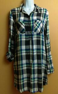SO Shirt Dress Multicolor Plaid 3/4 Button Long Roll Up Sleeve Size Medium M NEW