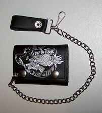 BLACK LEATHER LIVE TO RIDE  EAGLE WALLET WITH CHAIN - MEN'S TRIFOLD-MADE IN USA