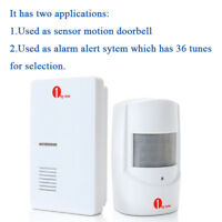 100M Wireless Motion Sensor Car Detector Door Bell Gate Entry Chime Alarm System