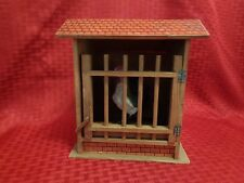 19th Century Victorian Antique Rooster Cage Wood Litho Toy w/ Spring Door