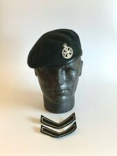 British Army-Issue Royal Green Jackets Beret, Badge & Chevrons. Size 55cm.
