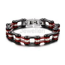 Stainless Steel Crystal Mens Motorcycle Bike Chain Bracelet Bangle Accessory