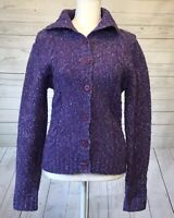 Eddie Bauer Womens Cardigan Sweater Button Front Wool Blend Purple XS XSmall