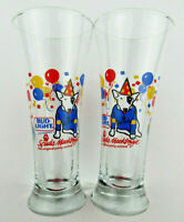 Lot of 2 1987 Spuds MacKenzie Bud Light Original Party Animal 7-1/4 Beer Glasses