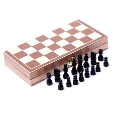 Vintage Wooden Pieces Chess Set Folding Board Box Wood Hand Carved For Kids