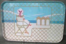"""Vintage melamine serving tray 11""""X17"""" Art Deco 1920's Lady on the Beach, Italy"""