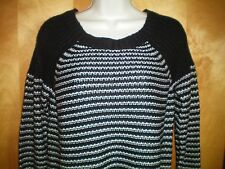 NWT NEW womens size M black white stripe DAISY FUENTES l/s textured sweater $58