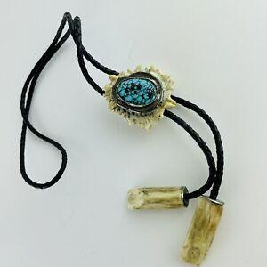 Turquoise, Silver & Horn Bolo Tie - Unisex - Cowboy Necktie - Western Wear