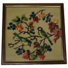 1 Fine Vintage 1970's Artwork Tapestry Exotic Birds In Tree Scene Wall Hanging