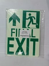 "Lawson/Glo-Brite 11"" x 8""  Photoluminescent FINAL EXIT Sign. (LS045-1)"