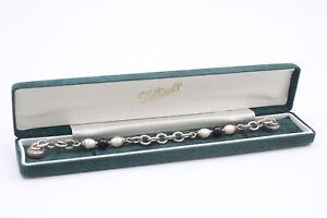 .925 Sterling Silver Signed Joseph Esposito Cultured Pearl BRACELET (23g)