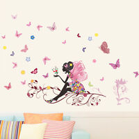 Removable Flower Fairy Butterfly Girl Wall Sticker Decal Room Kid Art S5B2