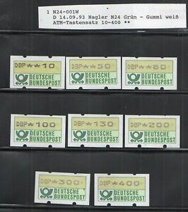 """BRD Automatenmarke 1F,Nagler N24 Fehldruck,Satz,weisses Papier,VS9"""",Herzberg """""""