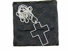 GORGEOUS GUCCI STERLING SILVER CROSS PENDANT NECKLACE W/POUCH