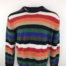 Tommy Hilfiger Rainbow Stripe Print Jumper Lux Cotton Sz XL Mens